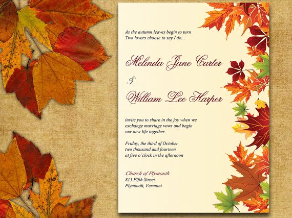 Free Fall Wedding Invitation Templates Lovely Instant Download Autumn Leaves Rustic Wedding Invite