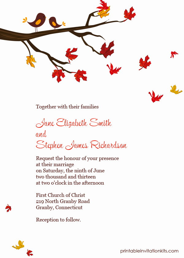 Free Fall Wedding Invitation Templates Lovely Lovebirds In Autumn Invitation ← Wedding Invitation