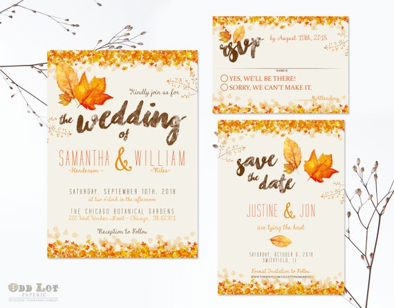 Free Fall Wedding Invitation Templates New Autumn Wedding Invitation Set Fall Wedding Invitations Diy