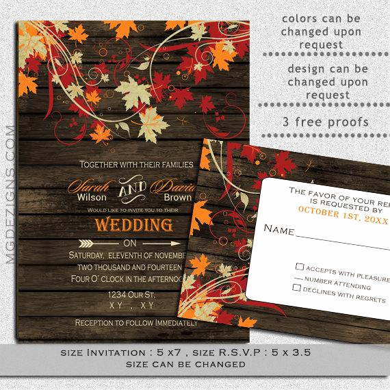 Free Fall Wedding Invitation Templates New Printable Wedding Invitation Template Fall Wedding by