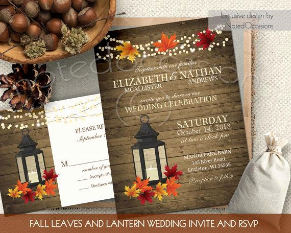 Free Fall Wedding Invitation Templates Unique Rustic Fall Wedding Invitations Set Metal Lantern Wedding