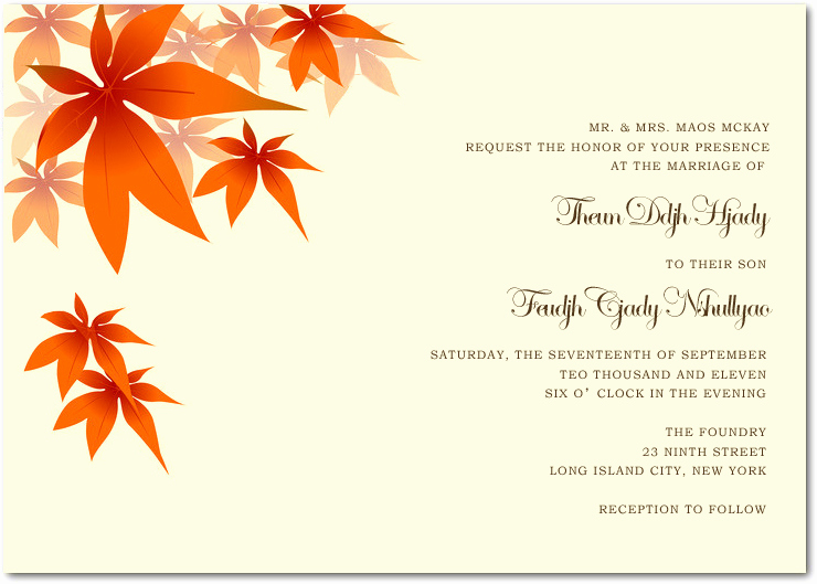 Free Fall Wedding Invitation Templates Unique Wedding Invitation Wording Etiquette Fall Wedding