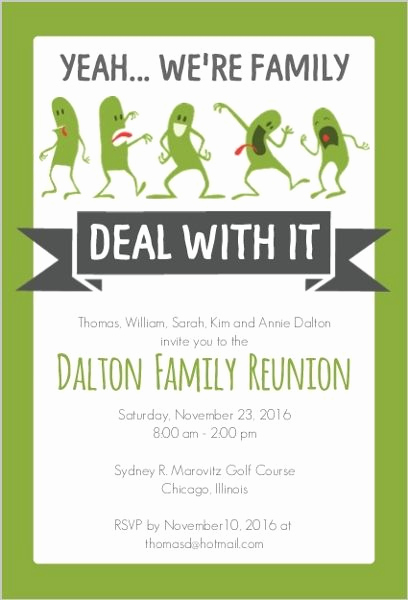 Free Family Reunion Invitation Templates Fresh Funny Family Reunion Invitation … Family History