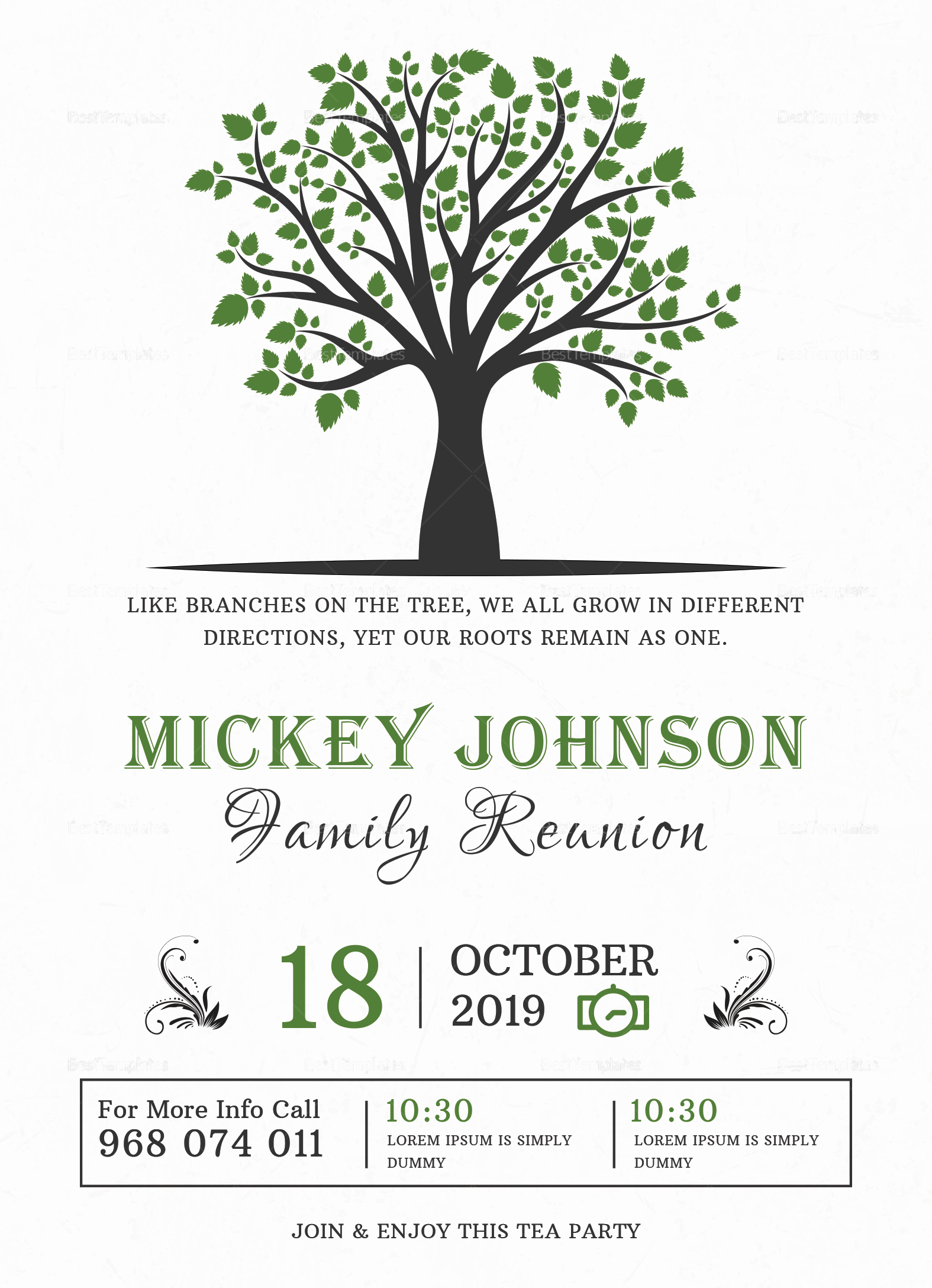 Free Family Reunion Invitation Templates Inspirational Classic Family Reunion Invitation Design Template In Word