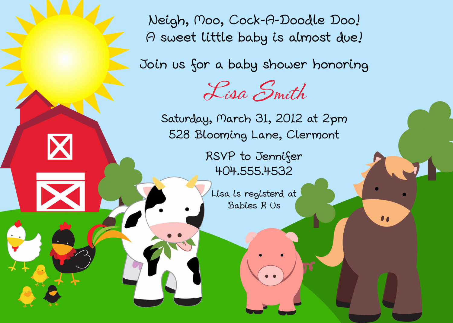 Free Farm Birthday Invitation Templates Awesome Farm Friends Baby Shower Invitation You Print by Bdesigns4you