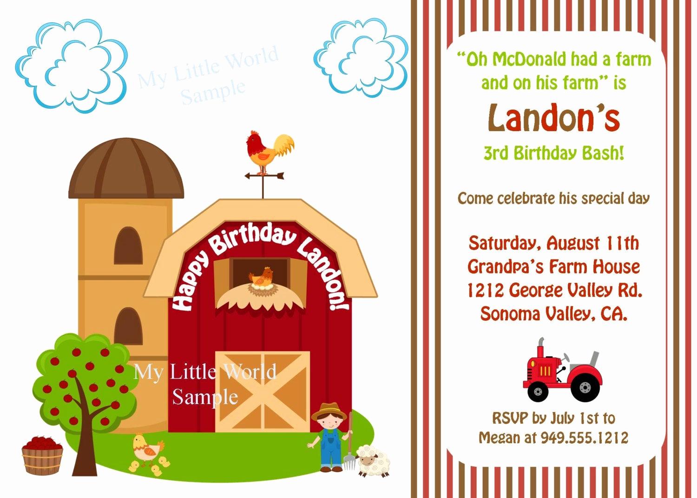 Free Farm Birthday Invitation Templates Beautiful Farm Birthday Invitation Down On the Farm Farm Invitations