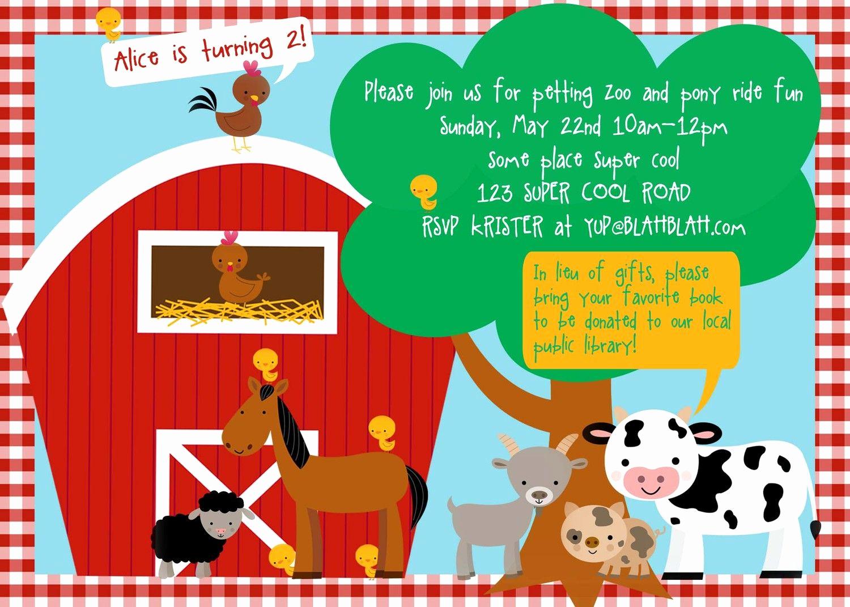 Free Farm Birthday Invitation Templates Fresh Petting Zoo Farm Birthday Invitation Diy by