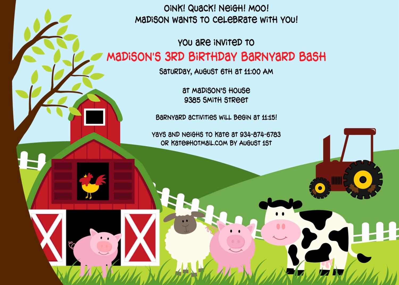 Free Farm Birthday Invitation Templates Fresh Printable Farm Animals Birthday Party Invitation by Cohenlane