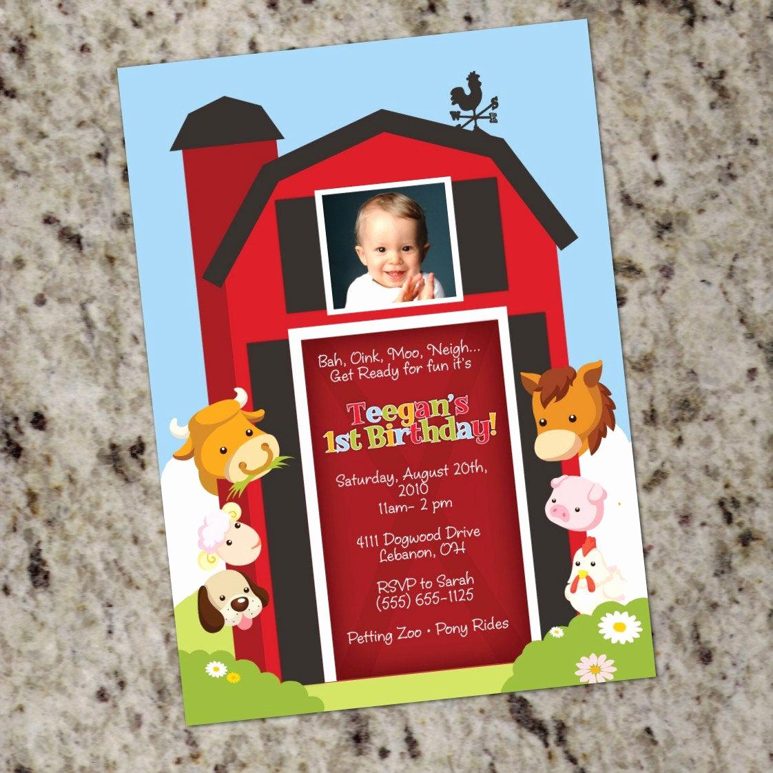 Free Farm Birthday Invitation Templates Lovely Farm Animal Invitation Printable Design Barnyard Birthday