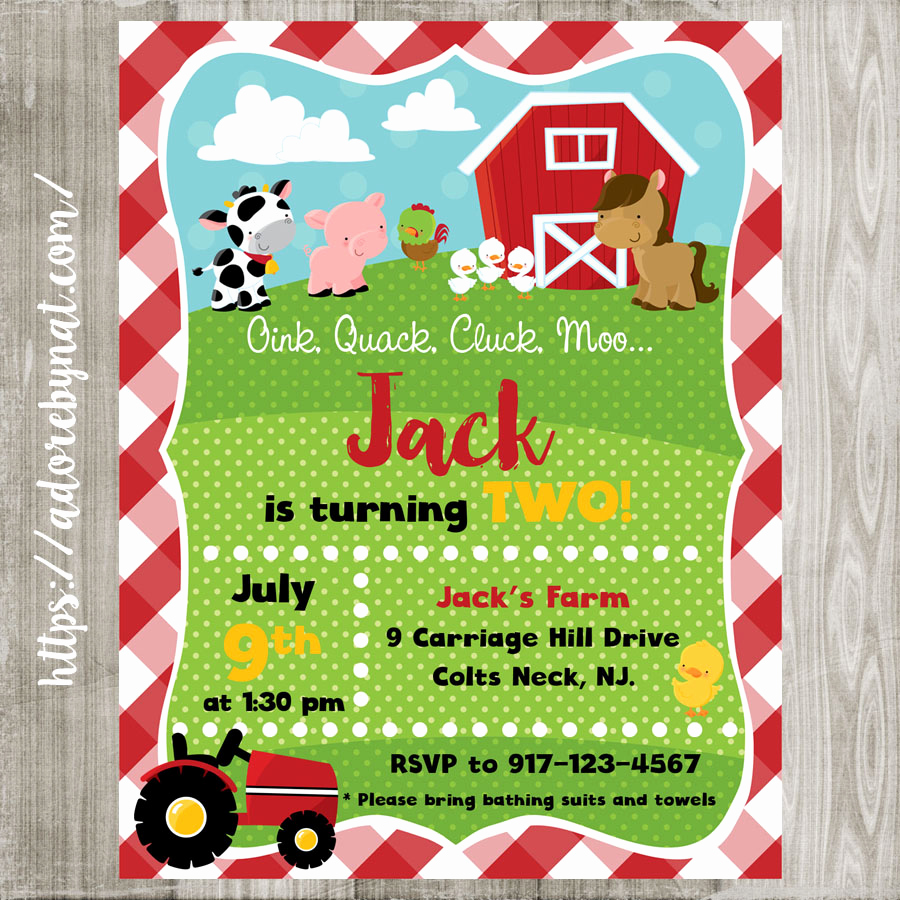 Free Farm Birthday Invitation Templates Lovely Farm Animals Party Invitations Printed or Printable