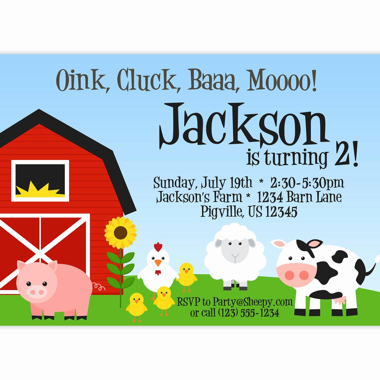 Free Farm Birthday Invitation Templates Lovely Farm Invitation Red Barn Farm Animals Pig by Purpleberryink