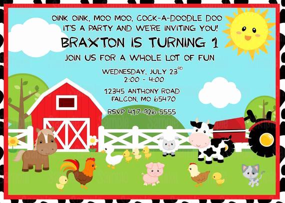 Free Farm Birthday Invitation Templates Lovely Printable Farm Animals Birthday Party Invitation