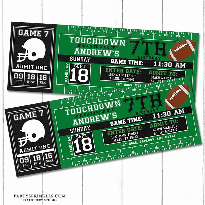 Free Football Ticket Invitation Template Awesome Custom Football Printable Birthday Invitation Football Ticket