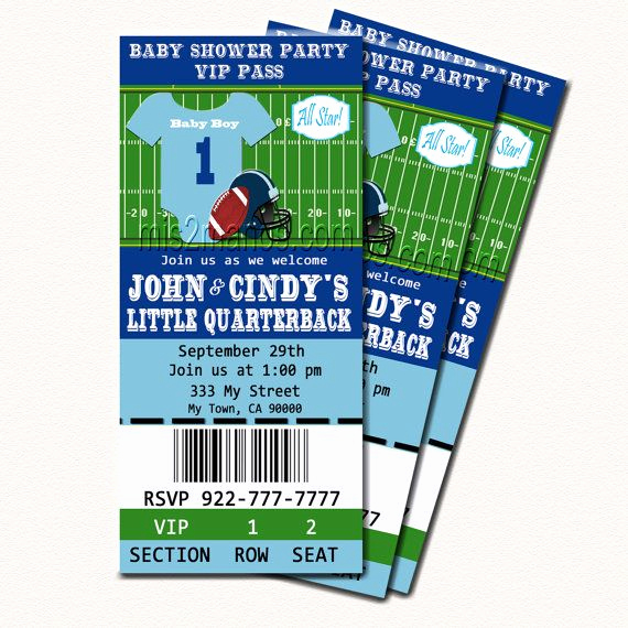 Free Football Ticket Invitation Template Awesome Football Baby Shower Printable Ticket Invitations