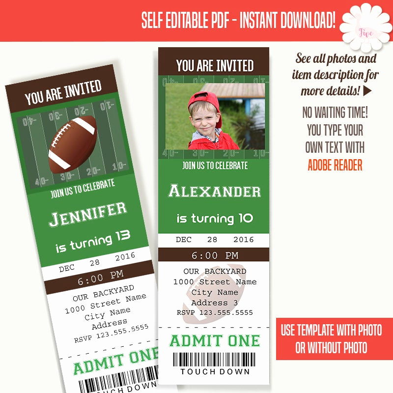 Free Football Ticket Invitation Template Awesome Football Ticket Invitation Birthday Tickets Template Instant