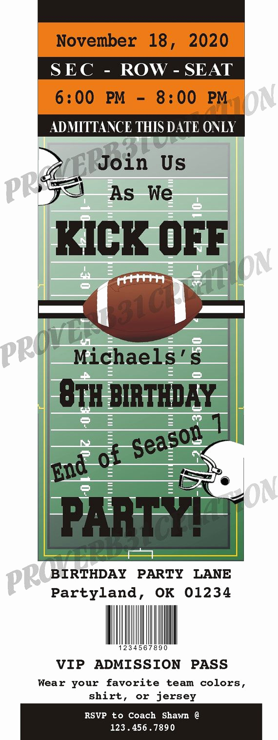 Free Football Ticket Invitation Template Awesome Printable Football Ticket Invitation Diy for by