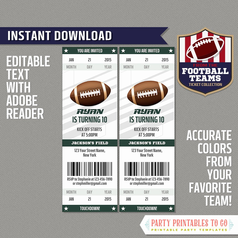 Free Football Ticket Invitation Template Beautiful Football Ticket Invitation Template Green and White