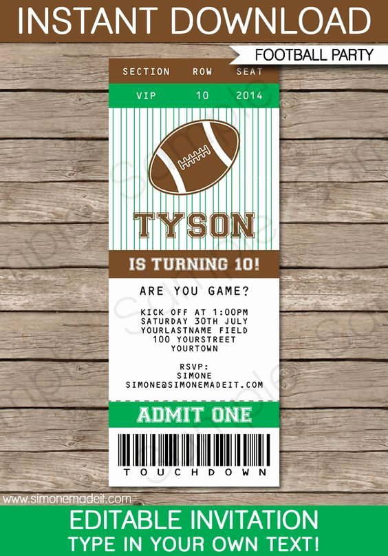 Free Football Ticket Invitation Template Best Of 1000 Ideas About Football Ticket On Pinterest