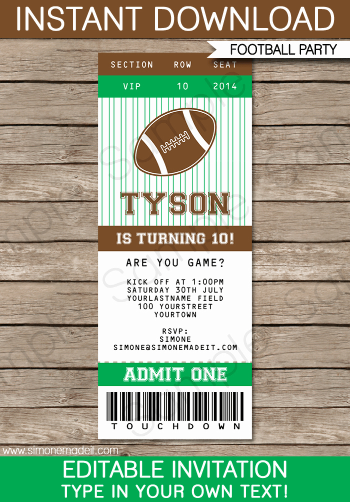 Free Football Ticket Invitation Template Best Of Football Ticket Invitation Template