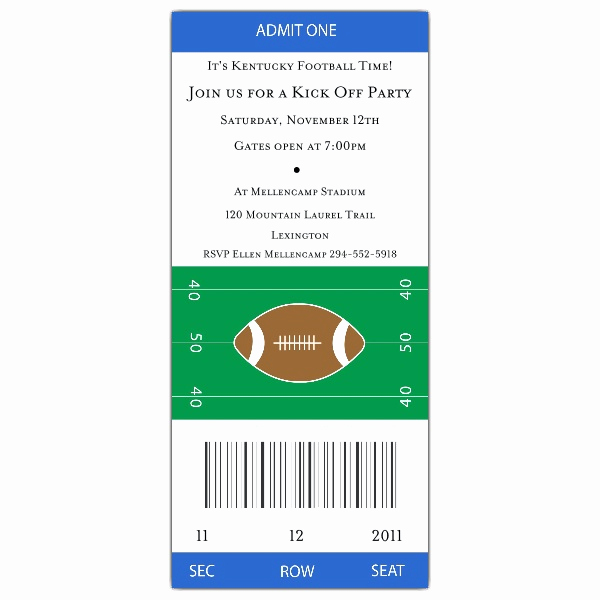 Free Football Ticket Invitation Template Inspirational Football Ticket Grey Red Invitations