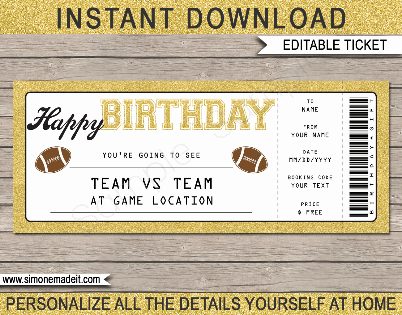 Free Football Ticket Invitation Template Luxury Printable Football Game Ticket Gift