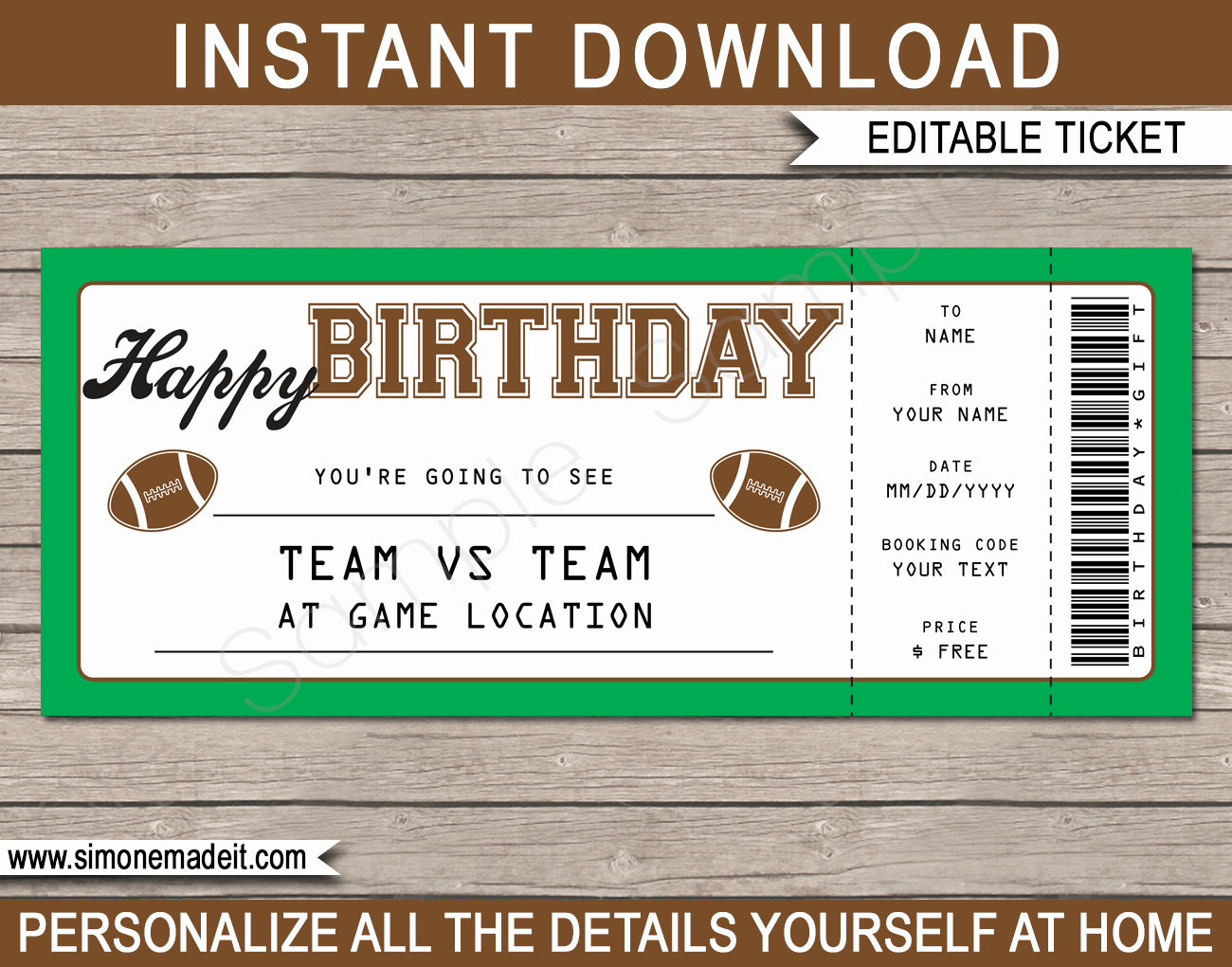 Free Football Ticket Invitation Template New Football Game Birthday Gift Ticket