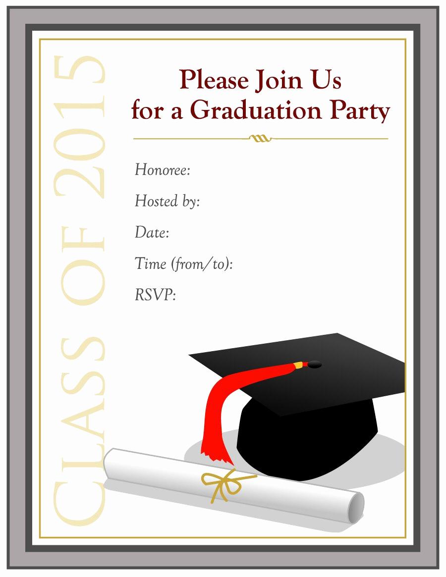 Free Grad Party Invitation Templates Lovely 40 Free Graduation Invitation Templates Template Lab