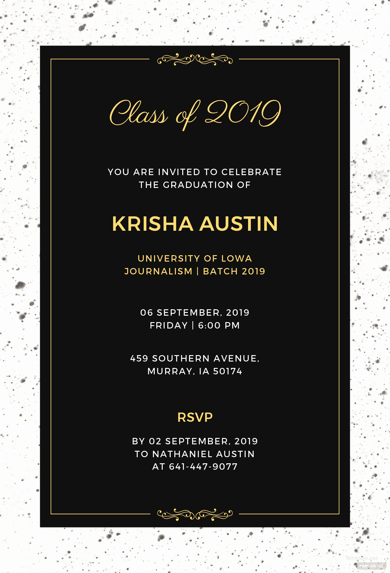 Free Graduation Invitation Templates Download Elegant Free Graduation Announcement Invitation Template In
