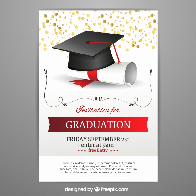 Free Graduation Invitation Templates Download Inspirational Graduation Invitation Template In Realistic Style Vector