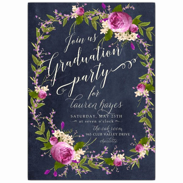 Free Graduation Party Invitation Best Of Floral Bouquet Wreath Blue Chalk Graduation Party