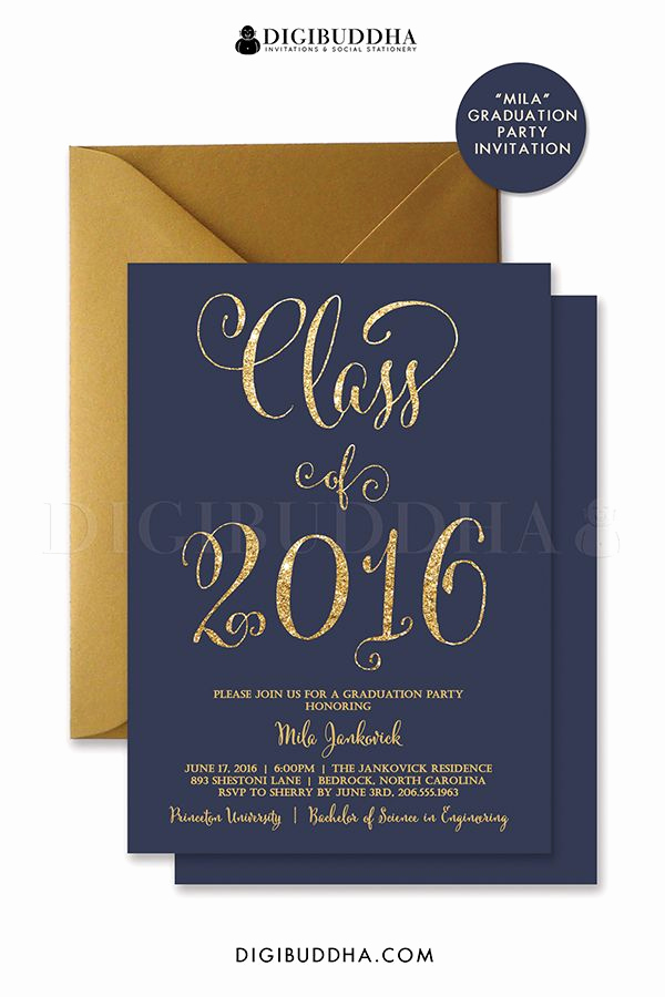 Free Graduation Party Invitation Best Of Graduation Party Invitation Navy and Gold Glitter Invite