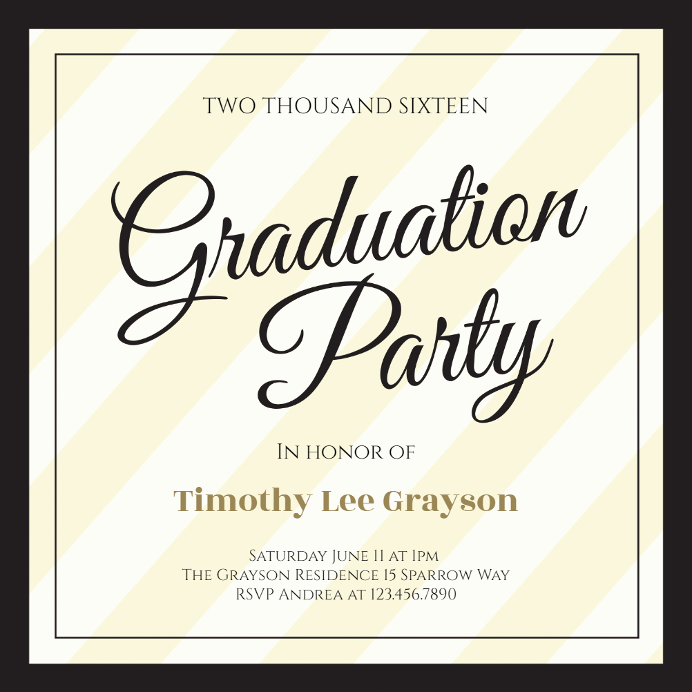 Free Graduation Party Invitation Elegant Broad Diagonals Graduation Party Invitation Template