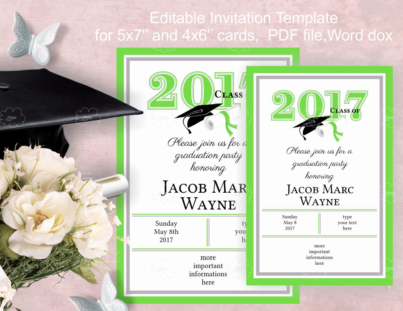 Free Graduation Party Invitation Elegant Graduation Party Invitation Template Edit Yourself