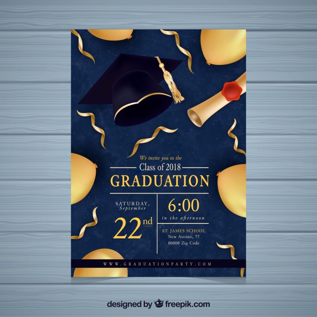 Free Graduation Party Invitation New Graduation Party Invitation with Golden Elements Vector