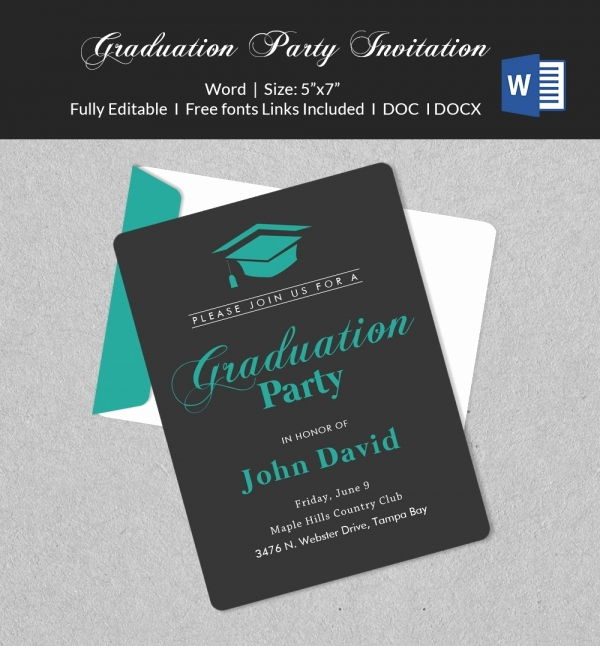 Free Graduation Party Invitation Template Elegant 50 Microsoft Invitation Templates Free Samples
