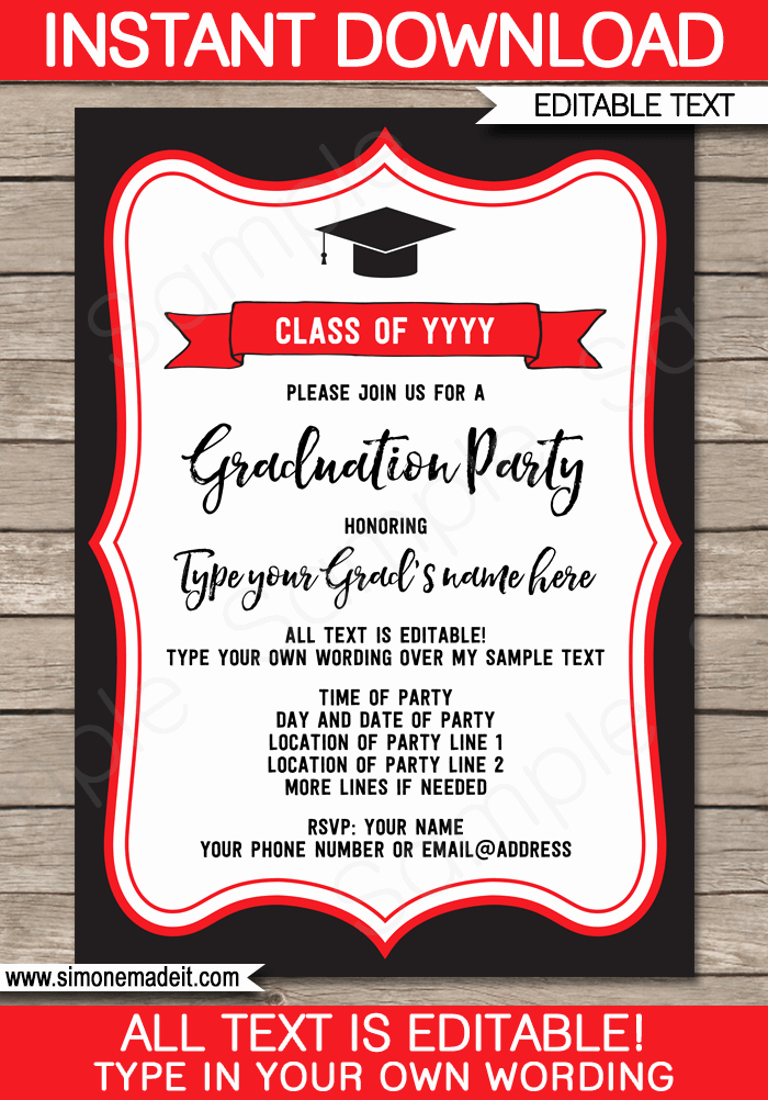Free Graduation Party Invitation Templates Unique Graduation Party Invitations Template