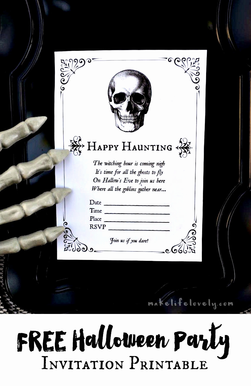 Free Halloween Invitation Printable New Free Halloween Party Invitation Printables Make Life Lovely