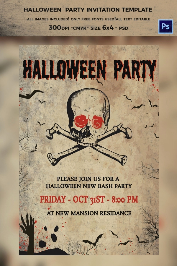 Free Halloween Invitation Template Awesome 35 Halloween Invitation Free Psd Vector Eps Ai