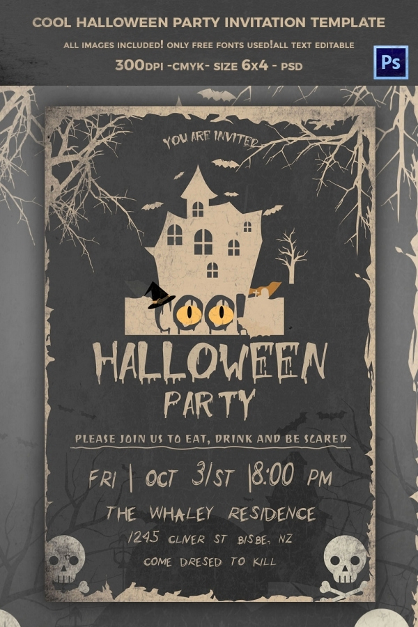 Free Halloween Invitation Template Awesome 68 Halloween Templates Editable Psd Ai Eps format