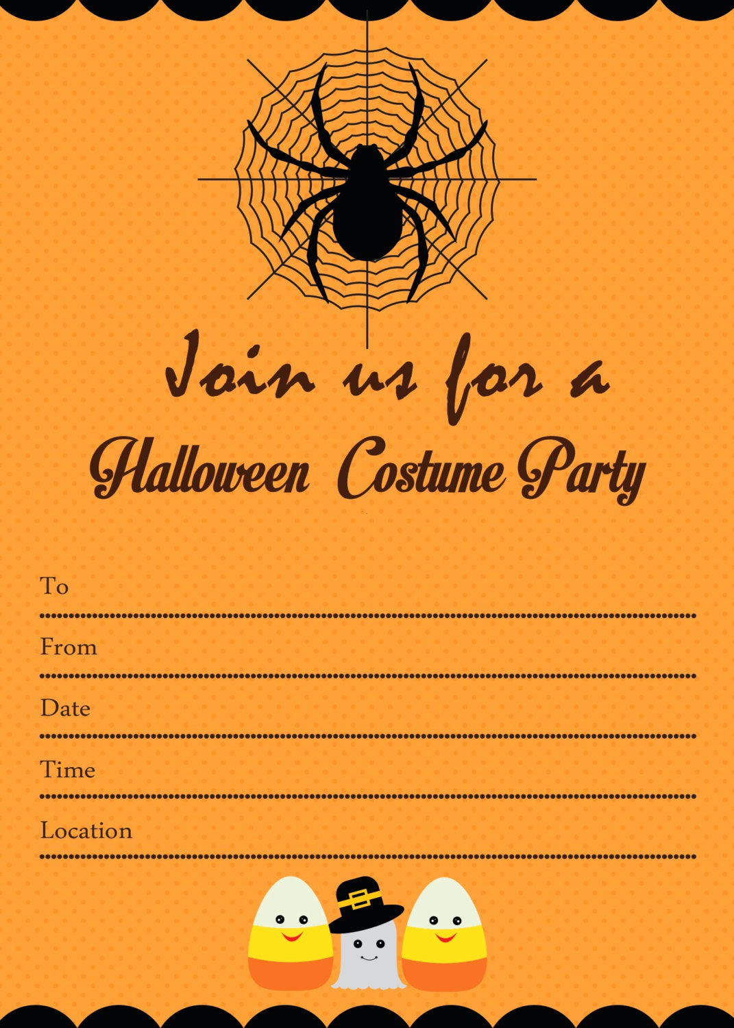 Free Halloween Invitation Templates Inspirational Spooky Halloween Costume Party Invitation by Candybeedesigns