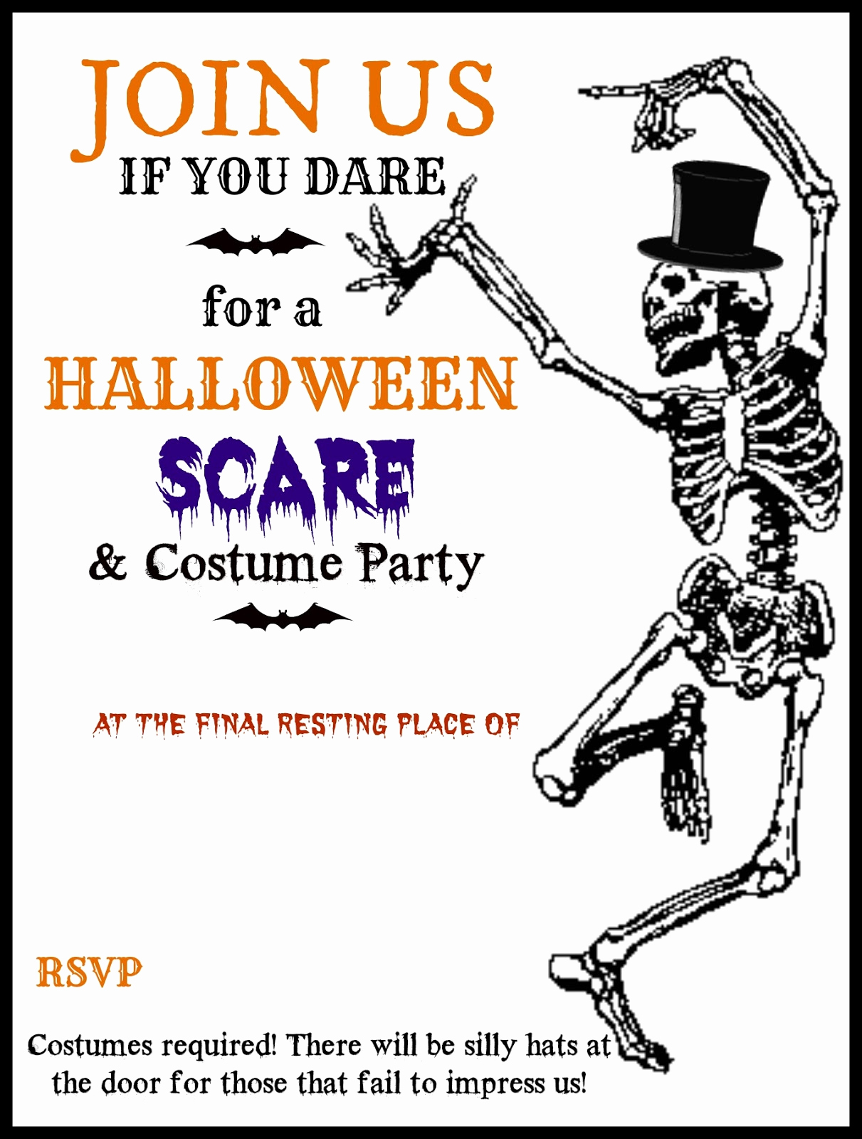 Free Halloween Invitation Templates Printable Awesome Free Printable Halloween Party Invitations Templates