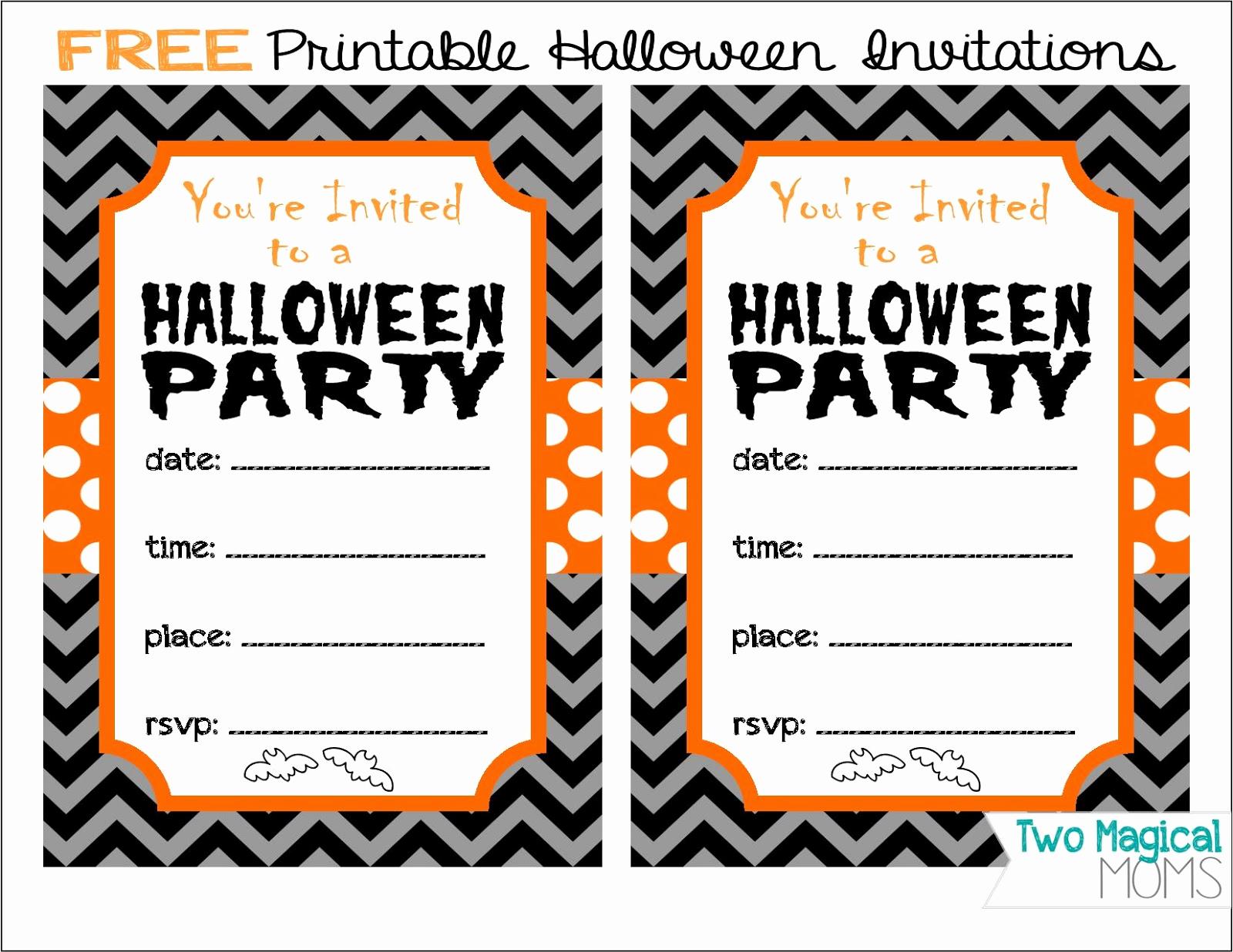 Free Halloween Invitation Templates Printable Awesome Two Magical Moms Free Printable Halloween Invitations