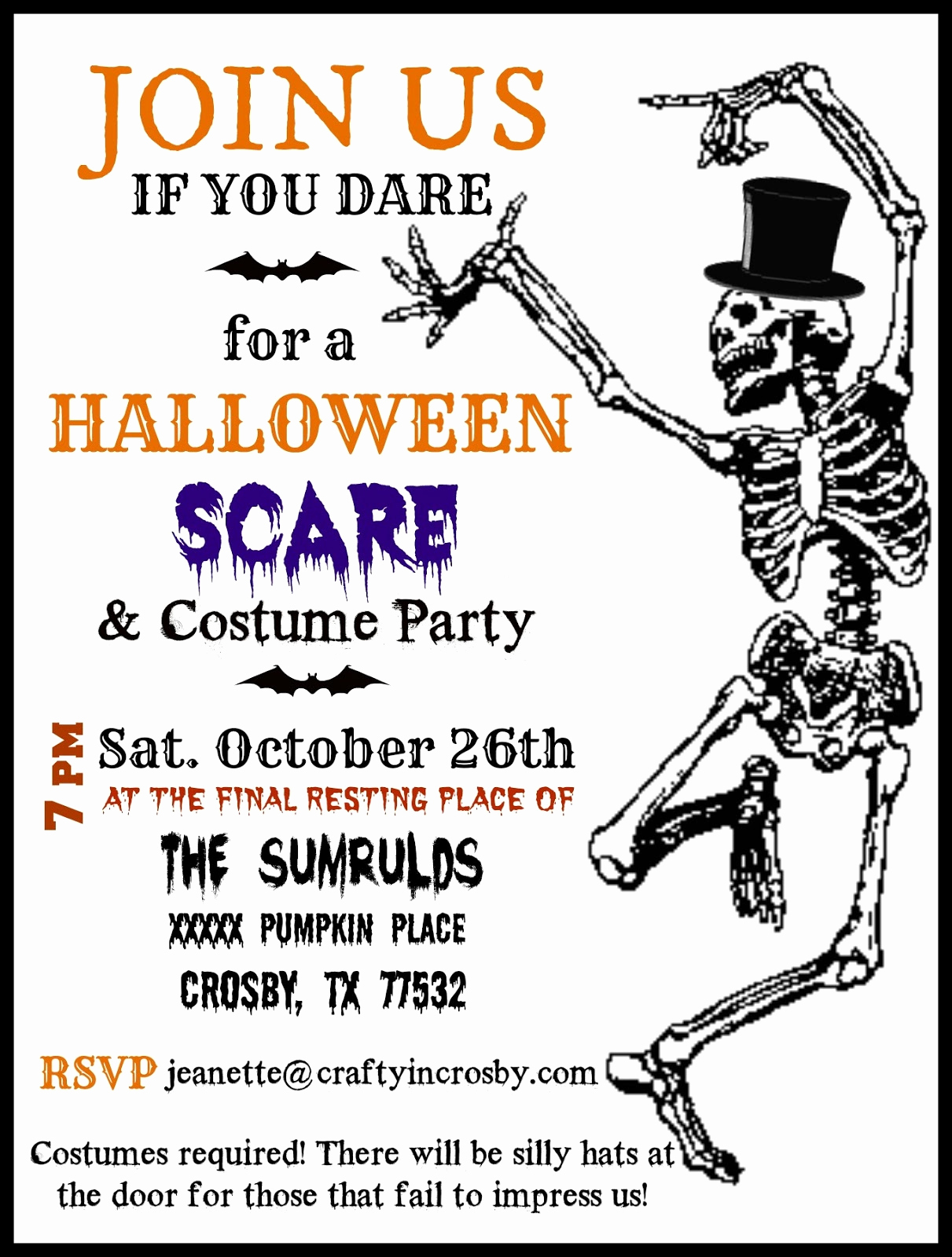 Free Halloween Party Invitation Templates Awesome Crafty In Crosby Halloween Party Invitations with Template