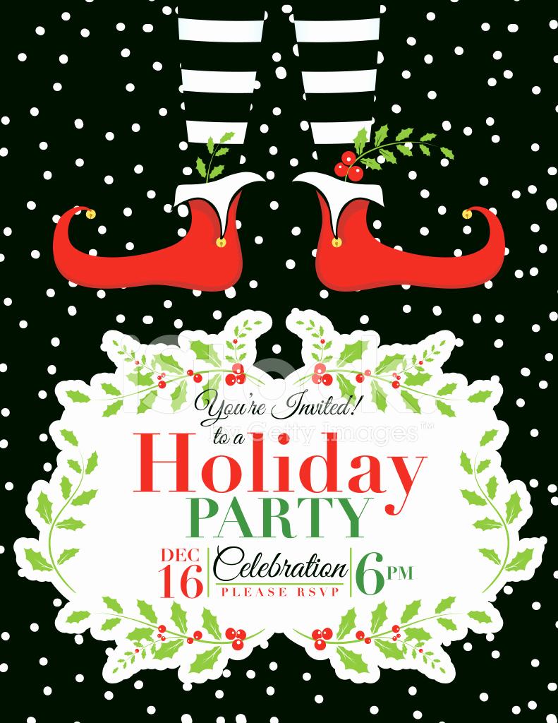 Free Holiday Invitation Template Beautiful Elf Christmas Party Invitation Template Stock Vector