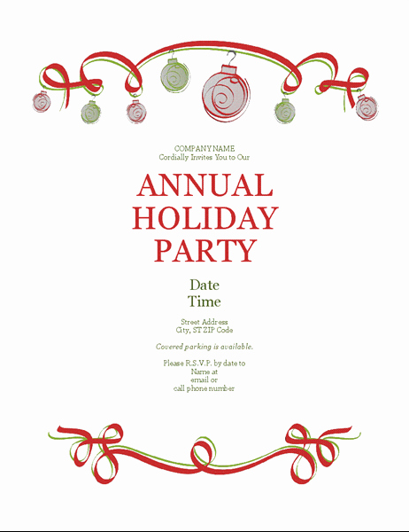 Free Holiday Invitation Template Lovely Holiday Party Invitation with ornaments and Red Ribbon