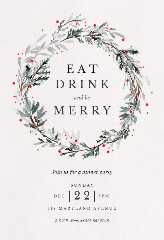 Free Holiday Invitation Template Unique Holiday Wreath Christmas Invitation Template Free
