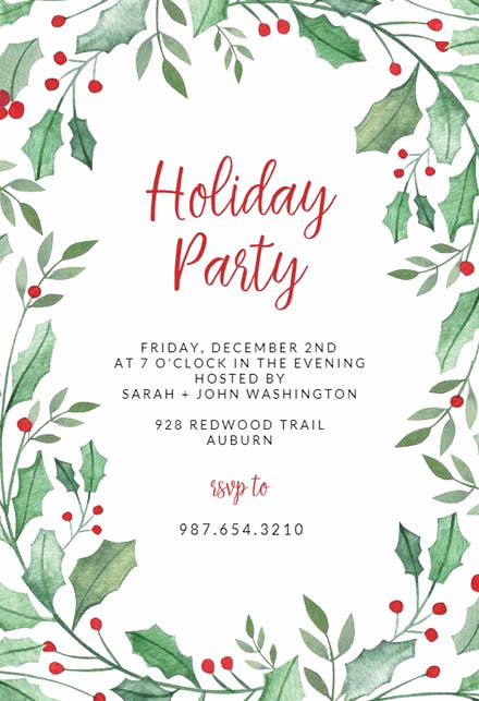Free Holiday Invitation Templates Lovely Christmas Party Invitation Templates Free