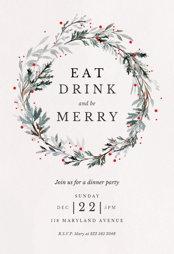 Free Holiday Invitation Templates Lovely Holiday Wreath Christmas Invitation Template Free