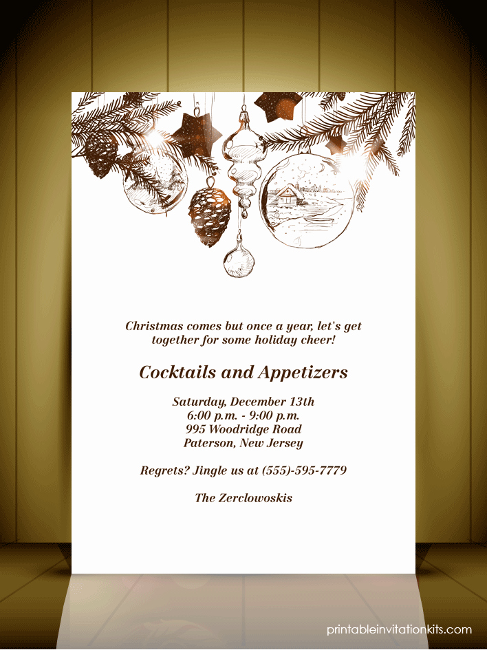 Free Holiday Invitation Templates Lovely Vintage Style Christmas Party Invitation Card ← Wedding