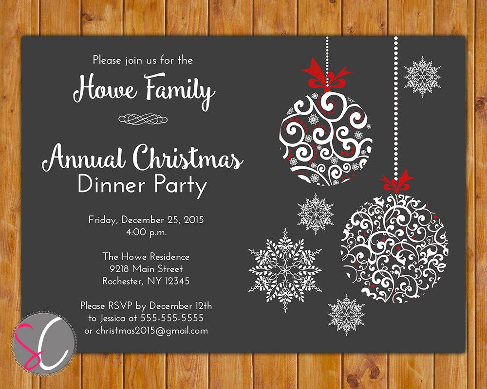 Free Holiday Party Invitation Templates Fresh Annual Christmas Dinner Party Invite Celebration Holiday